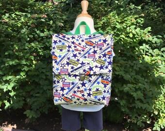 Preschool Backpack – Speed Trains - Transportation – Japanese Fabric Backpack – Toddler Preschool Kindergarten – Rucksack, Nap Sack