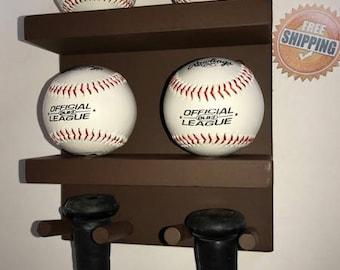 Baseball Bat Rack Display Holder Wall Mount Brown 3 Full Size Bats 4 Baseballs