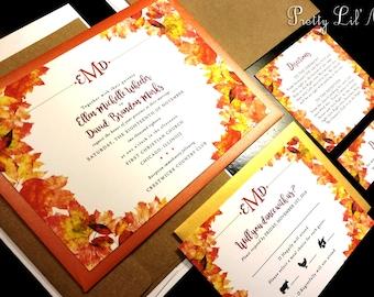 Fall Watercolor Flourish Damask Monogram Custom Wedding Invitation Orange Green Red Gold Purple Tree Outdoor Oak Maple Garden Design Modern