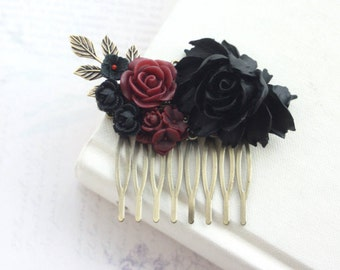 Black Rose Dark Red Burgundy Flowers Hair Comb Black Wedding Bridal Hair Comb Bridesmaid Gift Gothic Wedding Hair Comb Goth Halloween