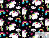 Unicorn Fabric By The Yard - Black / Fat Unicorn / Cute Rainbow Pony / Hearts and Clouds / Kids Fabric Print in Yards & Fat Quarter