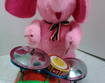 Vintage 70's Fusia Pink Mohair Elephant Plays Drum & Cymbals. Made In Taiwan ( Not In Working Condition)