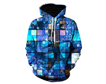 Rick and Morty Pullover Art Hoodie | Trippy Artwork Hoody | Adult Swim Festival Clothing | Hooded Sweatshirt