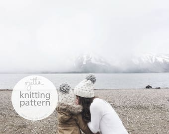 Knitting Pattern Combo / Fair Isle Knit Hat With Pom Pom / THE ALPINE hat Combo / PDF