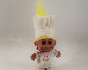 Vintage Russ Troll Doll, Pizza Chef, Yellow Hair