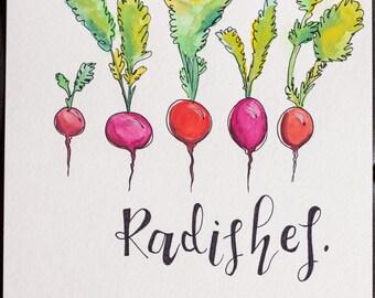 Radishes Watercolor ORIGINAL Art
