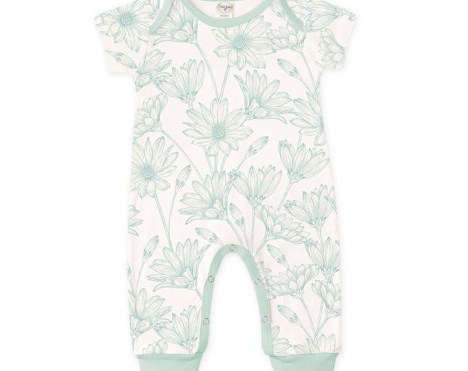 Newborn Baby Girl Onesie, Girl Coming Home Outfit, Infant Girl Onesie Bodysuit, Baby Girl Floral Romper, Aqua Daisies Baby Romper