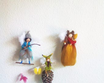 wool seasons mobile, hanging craft, felted mobile, felted family, custom crib mobile, baby mobile,