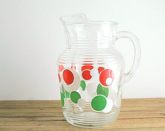 Retro Anchor Hocking Polka Dot Red Green White Glass Pitcher With Ice Lip Mid Century