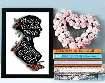 Jane Austen Quote Print, Jane Austen Gift, Literary Print, Inspirational Wall Art Print, Jane Asyen Poster, Literary Gift, Literary Quote