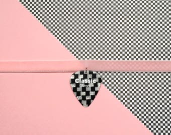 Checkered Guitar Pick Charm for Chokers