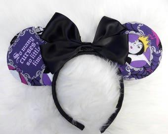 Disney Villain Minnie Ears, Evil Queen Ears with Black Bow, Evil Queen Ears, Villain Ears, Disney Villain Ears