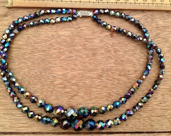 Vintage 1950's Carnival crystal cut glass necklace