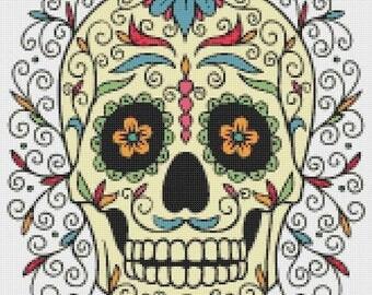 On SALE Sugar Skull - 165 x 188 stitches - Cross Stitch Pattern Pdf - INSTANT Download - B909