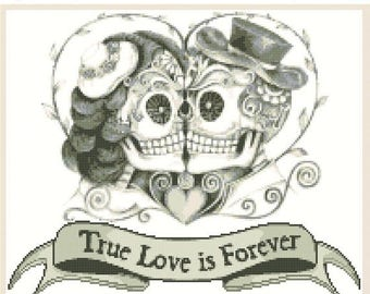 Sugar Skull Cross Stitch Pattern Pdf Couples cross stitch point de croix - 198 x 165 stitches -  INSTANT Download - B1177