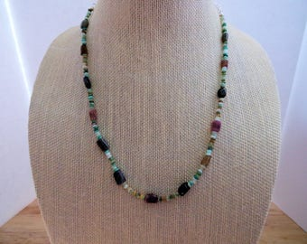 GENUINE NATURAL Peruvian Opal and Multicolored Tourmaline Nugget Necklace//Gemstone//Necklace//Silver Jewelry//Tourmaline//Opal Necklace