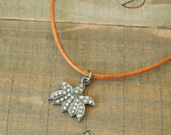 Leather necklace with pave diamond lotus charm, leather jewelry, choker necklace, beach boho, festival chic, greek leather, yoga chic