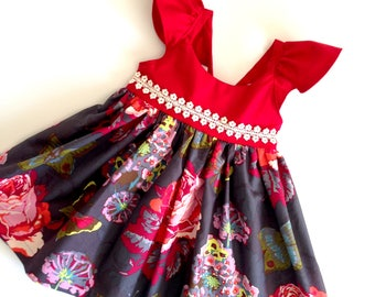 Christmas Dress, Girls Red Dress, Boutique Dress, Girls Christmas Dress, Flutter Sleeve Dress, Toddler Dress, Little Girl Dresses