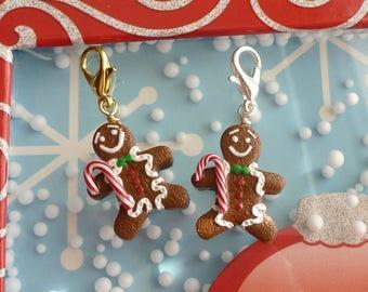 Gingerbread Man Charm Miniature Food Jewelry Polymer Clay Gingerbread Man Christmas Gifts Christmas Jewelry