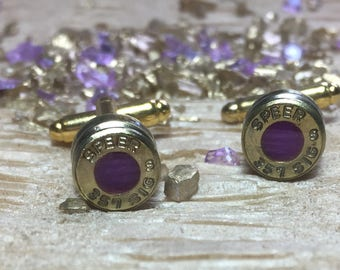 Gold w/Purple Center Bullet Cuff Links (SPEER 357 AUTO)