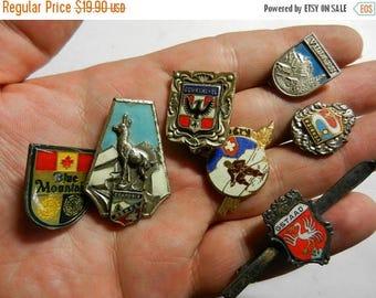 Summer Sale 7 Vintage European Ski Travel Badges Pins