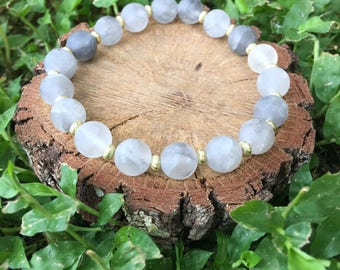 Dorothy Bracelet- Cloudy Quartz(8mm) - Beaded- Grey and Gold- Oliver Grey Jewelry - Stacking Bracelets - Gemstone Bracelet - Earthy Jewelry