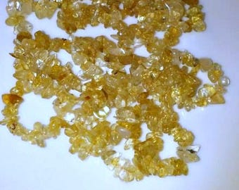 "Genuine Citrine chips 32"" strand"