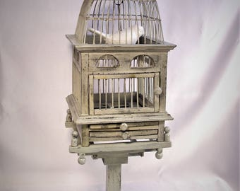 Beautiful Old Style Wood And Wire Dome Top Bird Cage.  FREE SHIPPING!