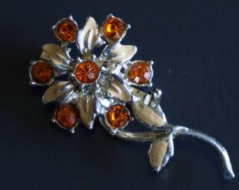 Vintage Enamel and Rhinestone Brooch,  Pretty Flower Brooch.