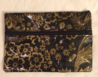 Oilcloth Zipper Pouch - Black w/ Gold Floral with Black Zipper