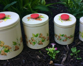 Vintage Pentron Tin Metal Set of Four Stacking Canisters with Strawberry and Flour Designs Canister Set Farmhouse Decor