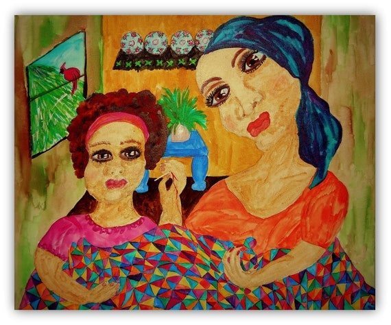 "THE REDDEST THREAD, India Ink Painting on 20x24"" Canvas, framed - Mother & Daughter Quilting, Ethnic Art by Folk Artist Stacey Torres"