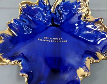 Vintage Large Blue and Gold Leaf Souvenir of Yellowstone Park Trinket, Candy or Catch All Dish, Made in USA