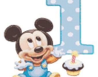 "1st birthday Counted Cross Stitch mickey pattern mickey cross stitch needlepoint korss needlework - 8.71"" x 9.00"" - L239"