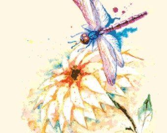 "dragonfly watercolor Counted Cross Stitch Pattern chart pdf point de croix needlepoint needlework -14.29"" x 18.57"" - L1345"