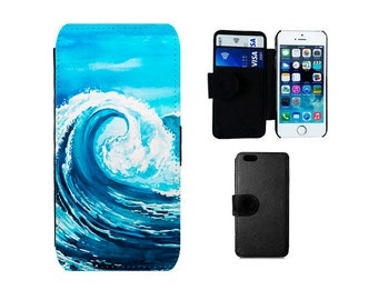 Surf Wallet case iPhone 6S, 6, Plus, 7 8 X SE 5S 5C 5 4S, Samsung Galaxy S8 Plus S7 S6 Edge S5 S4 Mini Note 5 Waves ocean phone cover. F332