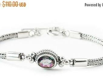 Mystic Topaz Silver Handcrafted Bracelet