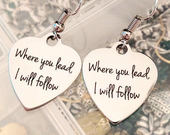 Where You Lead I Will Follow Earrings - Gilmore Girls Earrings - Silver Earrings