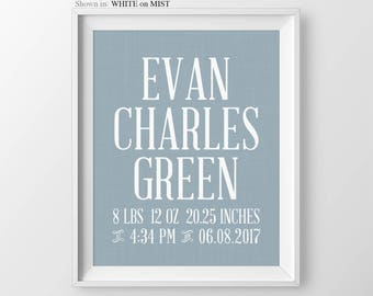 Baby Boy Birth Stats Nursery Decor Print Boy Personalized Name Print Baby Boy Birth Stats Newborn Birth Stats Baby Shower Gift Baby Boy