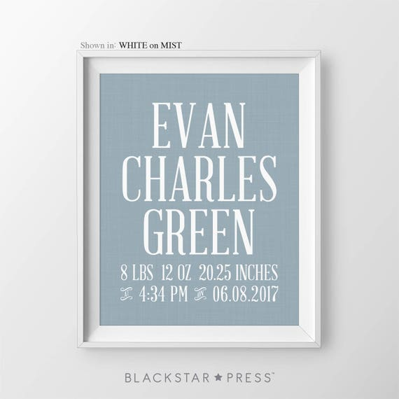 Baby boy birth stats nursery decor print boy personalized name like this item negle Gallery