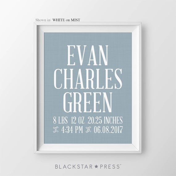 Baby boy birth stats nursery decor print boy personalized name like this item negle Images