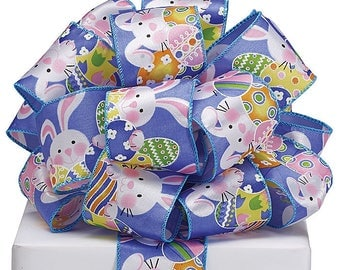 "2.5"" x 20yds White Bunny Wired Edge Ribbon w/ Blue Backround /Wreath Supplies/Easter Decoration/9724656"