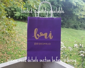 Limited Quantity - Vibrant Purple Custom Gift Bags - Handlettered Gift Bags - Bridesmaid Gift Bags - Gift Bag - Custom Gift Bag - Bridal