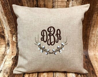 Mongrammed Cotton and Antlers throw pillow case