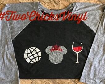 Epcot/Minnie Mouse/Food&Wine/Drinking Around the World/Disney Raglan tee