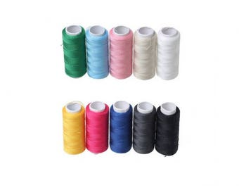 Multicolored 10 spools of sewing thread