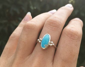 Turquoise ring sterling silver, turquoise ring, natural turquoise ring, December birthstone, stone ring, dainty turquoise, made to order