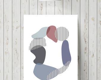 Abstract stone circle print
