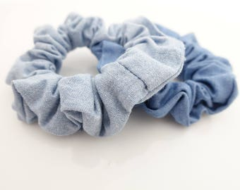 a set of 2 cotton scrunchies for women denim scrunchies pack