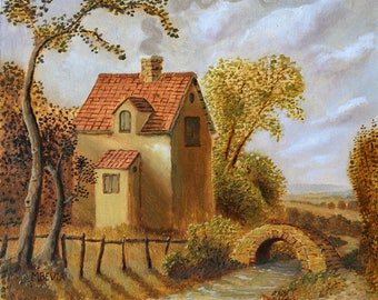 "Art print titled, ""Old Cottage and Bridge"" from an original painting by MBevia"